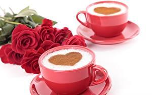 Фото Кофе Капучино Роза День всех влюблённых Сердечко Чашке Блюдца Пища