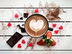 Обои Кофе Шоколад Ягоды Клубника Доски Сердца Кружки
