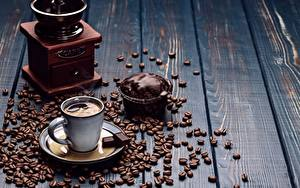 Картинка Кофе Шоколад Пирожное Кофемолка Чашка Зерна Блюдце Доски Еда