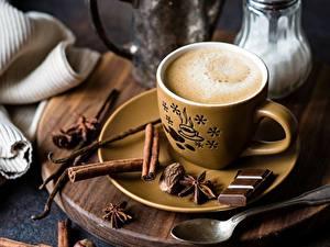 Фото Кофе Шоколад Корица Чашка Блюдце Ложка Продукты питания