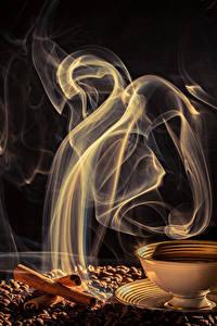 Фото Кофе Корица Чашка Зерна Пар Продукты питания