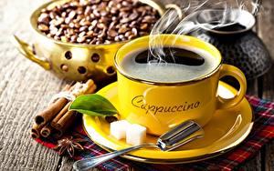 Обои Кофе Корица Чашке Блюдца Ложка Зерно Сахара Еда