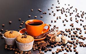 Фото Кофе Корица Бадьян звезда аниса Кекс Чашка Зерна Пища