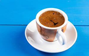 Картинка Кофе Цветной фон Чашка Блюдце Еда
