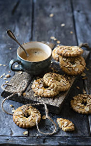 Фотография Кофе Печенье Капучино Доски Чашка Еда