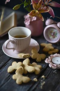 Картинка Кофе Печенье Чашка Еда