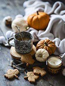 Картинки Кофе Печенье Тыква Свечи Кружке Еда