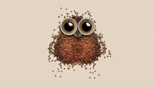 Фотографии Кофе Креатив Совообразные Зерна Чашка Еда
