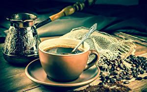 Обои Кофе Чашка Зерно Блюдце Турка Ложка Еда