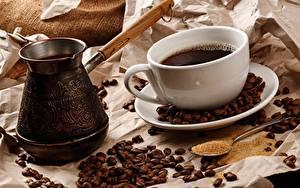 Картинка Кофе Зерно Чашке Турка Ложки