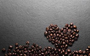 Картинки Кофе Зерно Серце Сером фоне Шаблон поздравительной открытки Пища