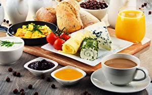 Фото Кофе Сок Повидло Мед Хлеб Сыры Томаты Завтрак Чашке Стакана
