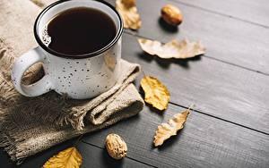 Картинка Кофе Кружки Листья Пища