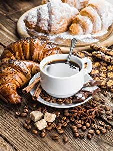 Фотография Кофе Выпечка Шоколад Круассан Чашка Зерна Сахара
