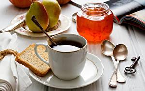 Картинки Кофе Варенье Хлеб Груши Чашке Банка Ложки Ключа Еда