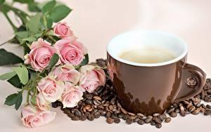 Фотография Кофе Роза Чашке Зерно Паром Цветы