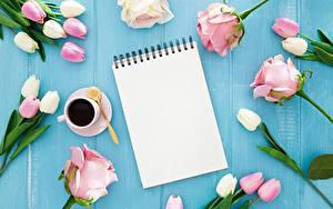 Картинка Кофе Роза Тюльпан Чашке Блокнот Доски цветок
