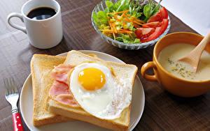 Картинка Кофе Салаты Хлеб Завтрак Чашка Яичница Пища