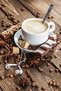 Фото Кофе Бадьян звезда аниса Корица Шоколад Капучино Доски Чашка Зерна Наушники Сахар Пища