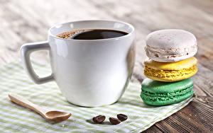 Обои Кофе Сладкая еда Вблизи Макарон Чашке Пища