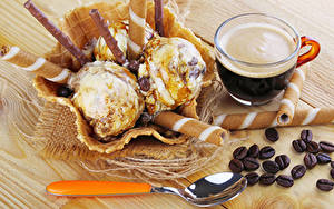 Обои Кофе Сладости Мороженое Доски Чашка Зерна Ложка