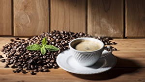 Обои Кофе Доски Чашка Зерна Тарелка Пена Еда