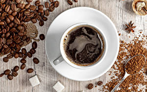 Картинка Кофе Доски Чашке Зерно Сахара Блюдца
