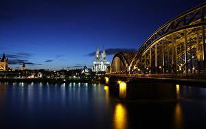 Фотография Кёльн Германия Мост Речка Рассвет и закат Собор Ночные Rhine