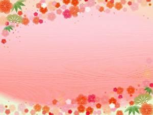 Картинка Цветной фон Доски Шаблон поздравительной открытки Цветы