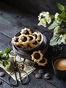 Обои для рабочего стола Печенье Шоколад Доски Пища