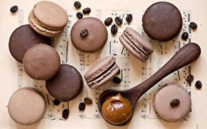 Обои Печенье Крупным планом Кофе Макарон Зерна Ложка Еда
