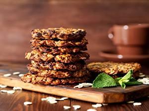 Картинки Печенье Крупным планом oatmeal Пища
