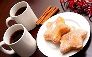 Обои Печенье Кофе Крупным планом Кружка Тарелке Продукты питания