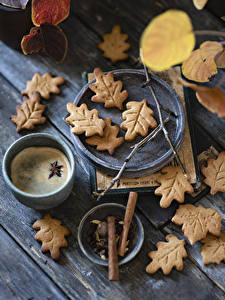 Картинка Печенье Кофе Бадьян звезда аниса Капучино Доски Листва Кружки Пища