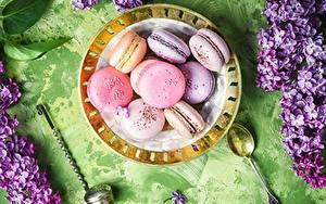 Картинки Печенье Макарон Тарелке Пища