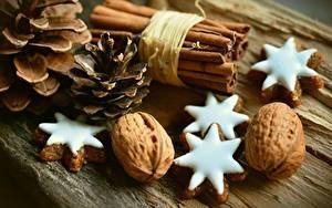 Картинки Печенье Орехи Шишки Звездочки Пища