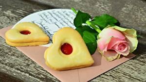 Картинка Печенье Роза День святого Валентина Серце Письмо Пища