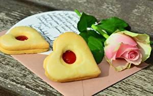Картинка Печенье Роза День всех влюблённых Сердечко Письма Пища