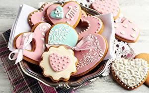 Фотографии Печенье День всех влюблённых Пища