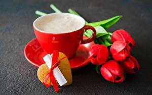Картинка Печенье День святого Валентина Тюльпаны Чашка Сердца цветок
