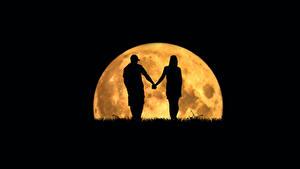 Фотография Влюбленные пары Силуэта Луной Moonlovers
