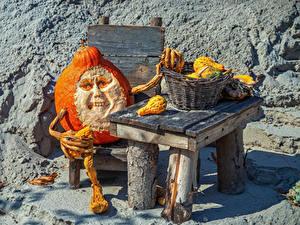 Картинка Оригинальные Хэллоуин Тыква Стола Корзина Старый мужчина Ужасные