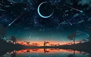 Обои Лунный серп Небо Звезды Рассвет и закат Озеро Силуэта Фэнтези