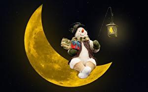 Картинки Полумесяц Снеговики Подарки Фонарь Луна Шляпа Сидящие
