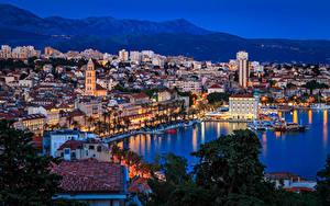 Картинка Хорватия Сплит (город) Дома Причалы Вечер Залив Города