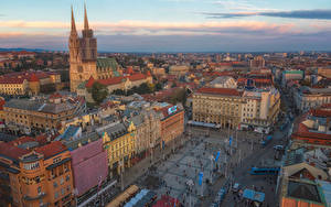 Фото Хорватия Загреб Дома Городской площади Башня Сверху Jelacic Square Города