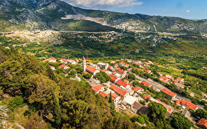Картинки Хорватия Здания Осенние Холм Краши Klis