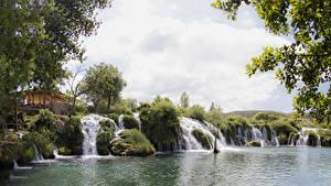 Фотография Хорватия Озеро Водопады Zrmanja Природа