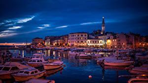 Фото Хорватия Причалы Здания Катера Лодки Вечер Rovinj город