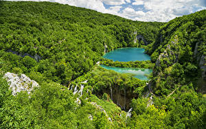 Фото Хорватия Парк Озеро Лес Утес Plitvice Lakes National Park